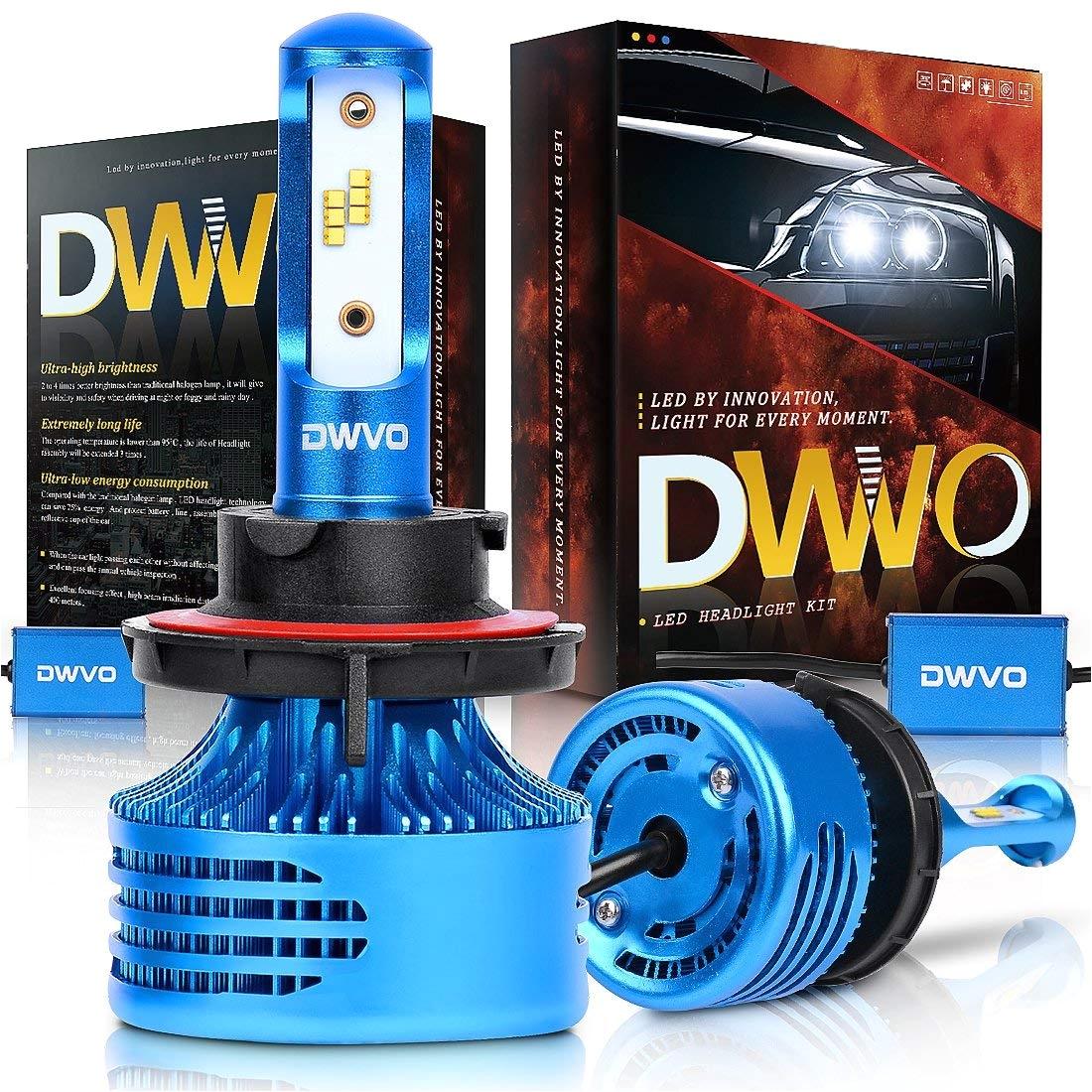amazon com dwvo h13 9008 led headlight bulbs 6 5k 16000lm philips chip conversion kit hi lo beam super bright ip68 waterproof automotive