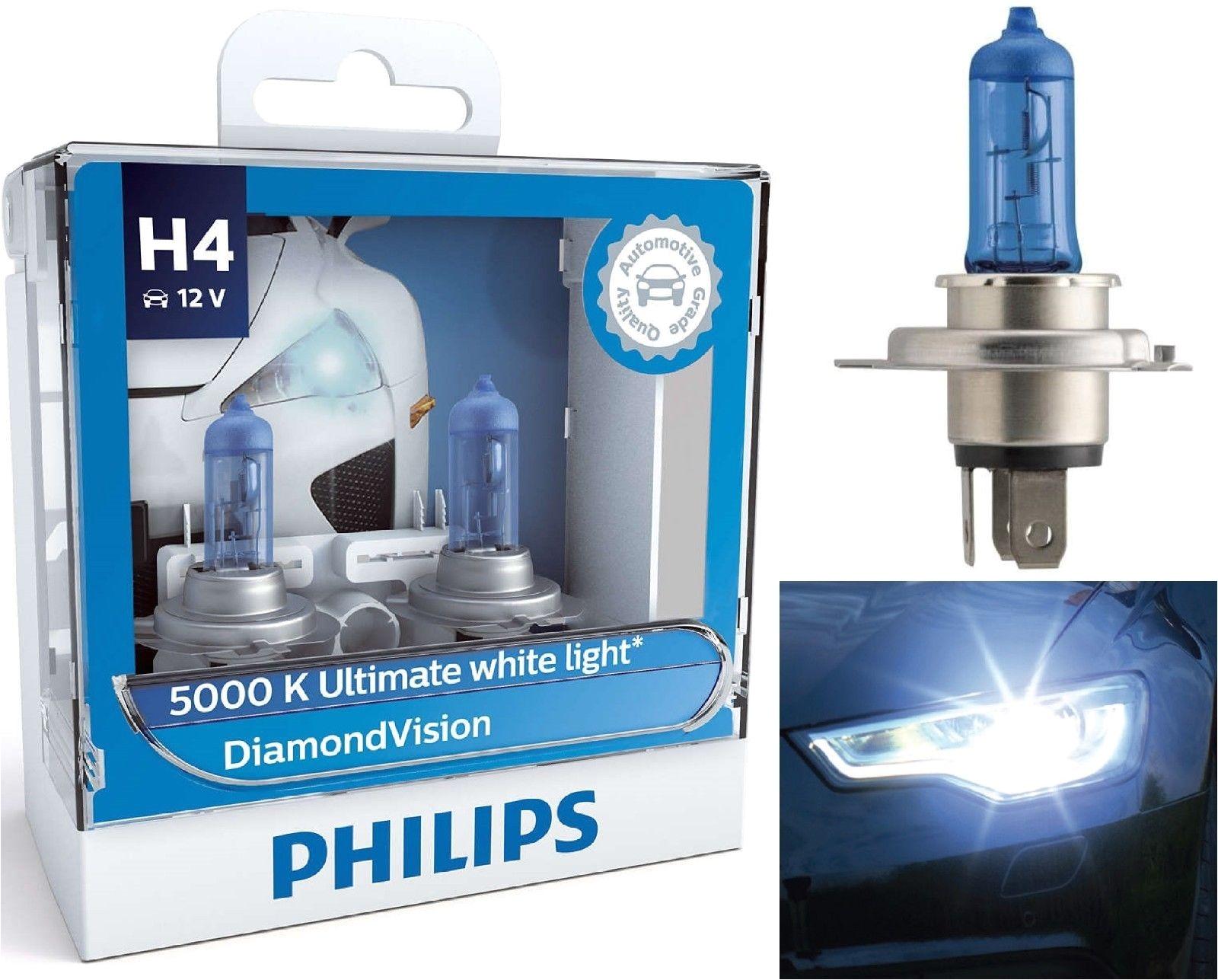 philips diamond vision 9003 h4 xenon hid look headlight bulbs pair 5000k ebay