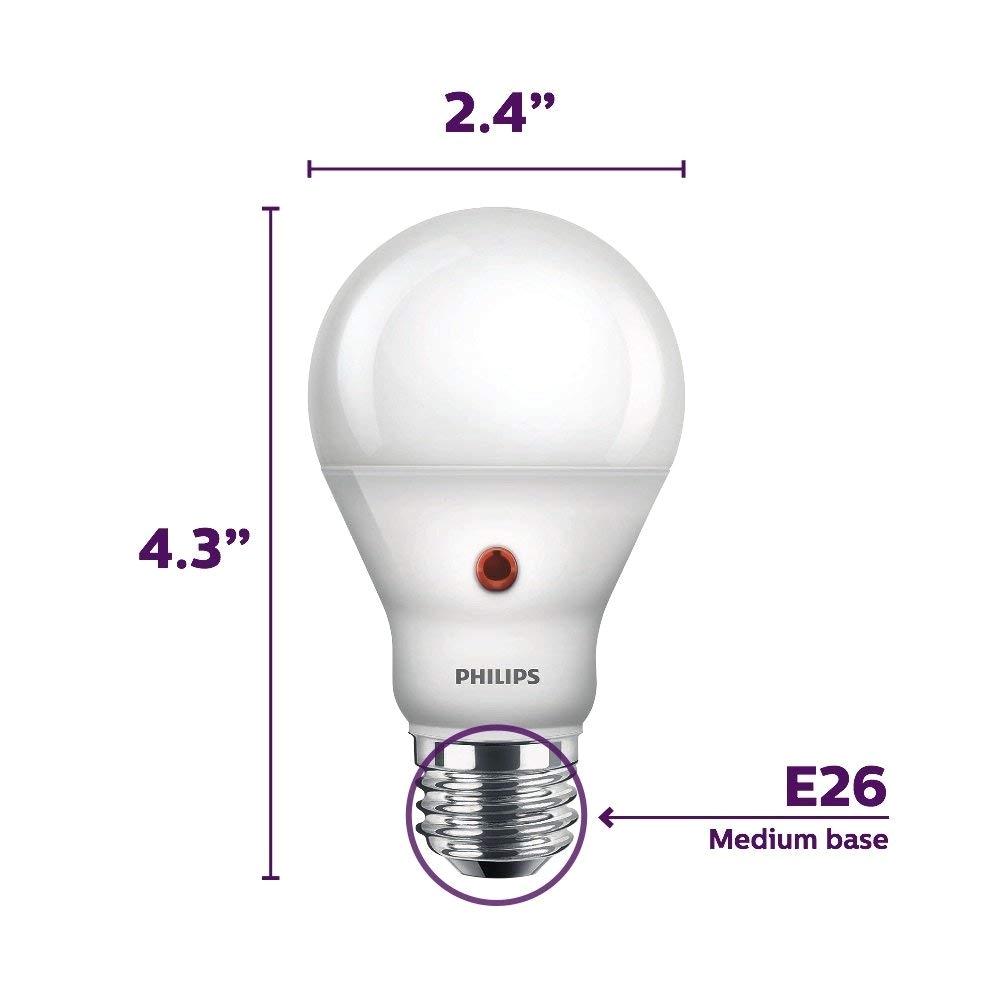 philips led dusk to dawn a19 frosted light bulb 800 lumen 2700 kelvin 8 watt 60 watt equivalent e26 medium screw base soft white 3 pack amazon