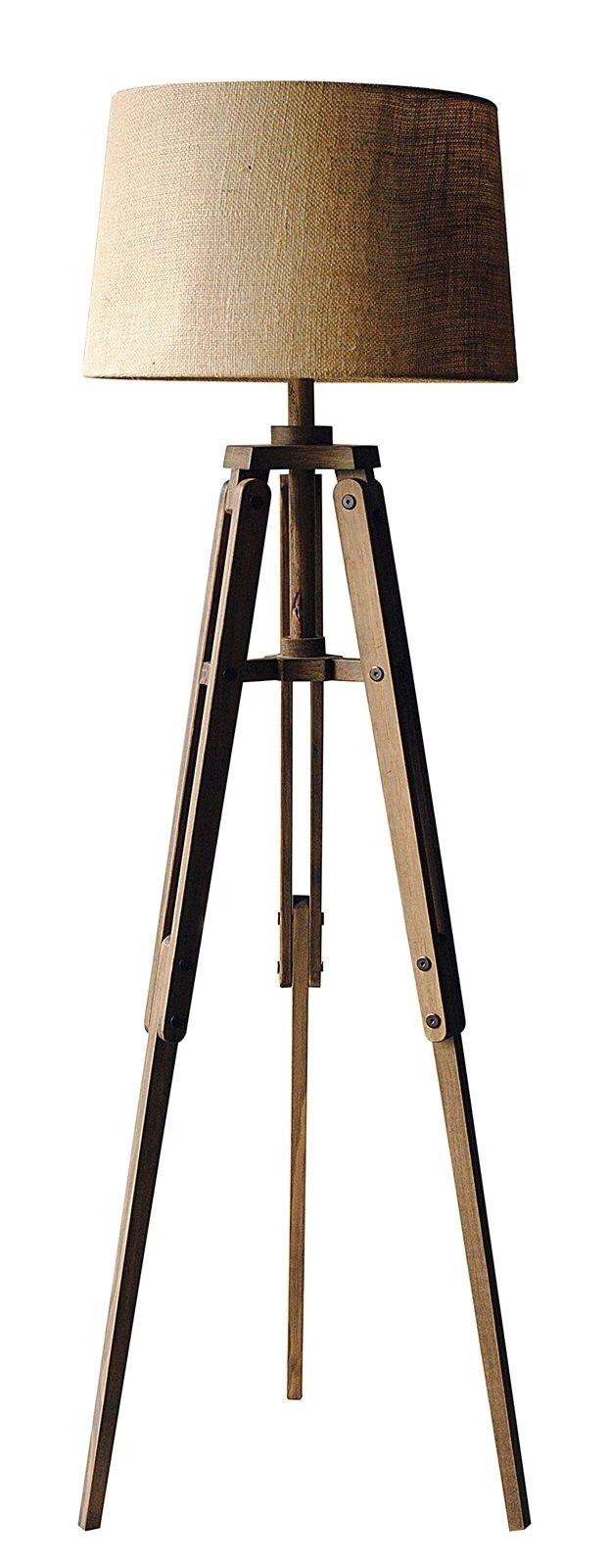 creative co op mariner wood tripod floor lamp with shade 62 25 height