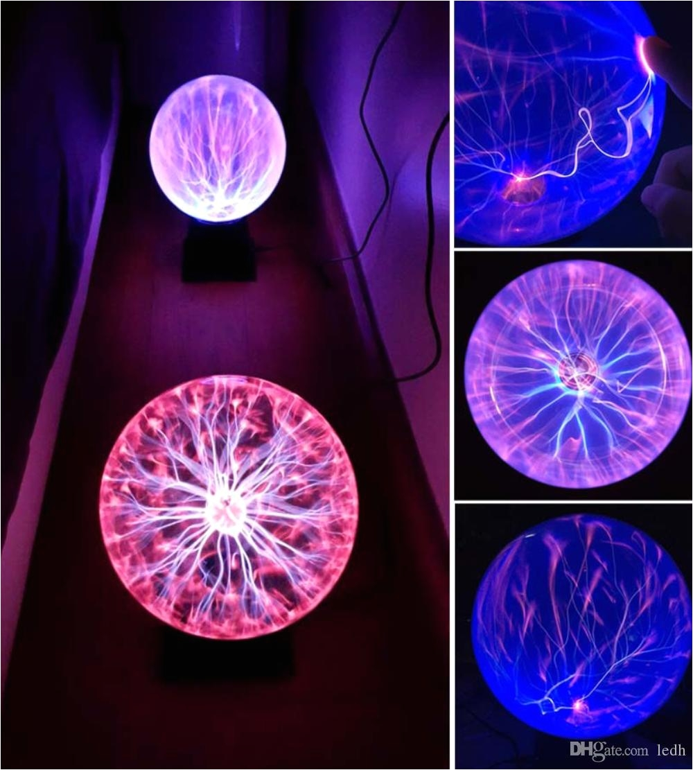Plasma Lava Lamps Sphere Lightning Lamp Light Party Black Base Glass Plasma Ball