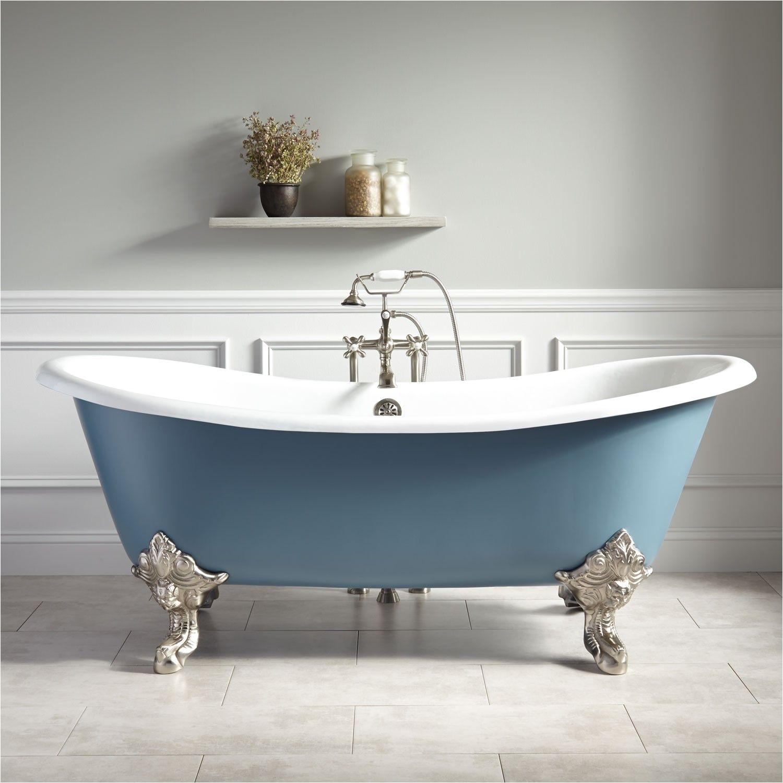 72 lena cast iron clawfoot tub monarch imperial feet slate blue bathroom