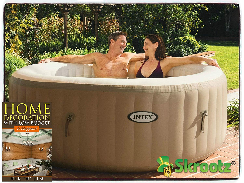 amazon com hot tub spa intex 4 person inflatable portable heated bubble soft pure massage person 4 inflatable step steps bubble heated filter spas jet