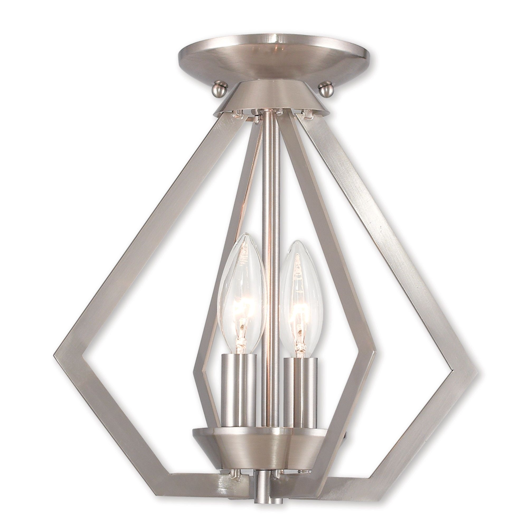 livex lighting prism 2 light pendant brushed nickel silver steel