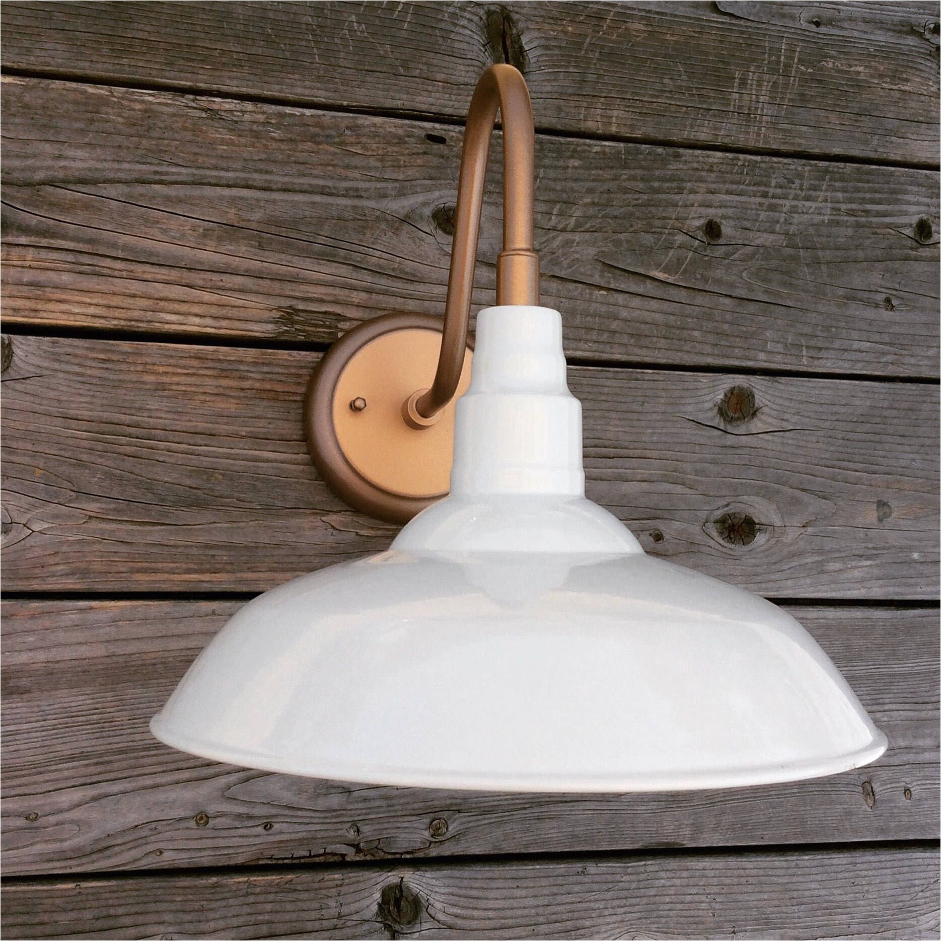 white copper outdoor industrial farmhouse gooseneck barn light by thereare4lights on etsy https