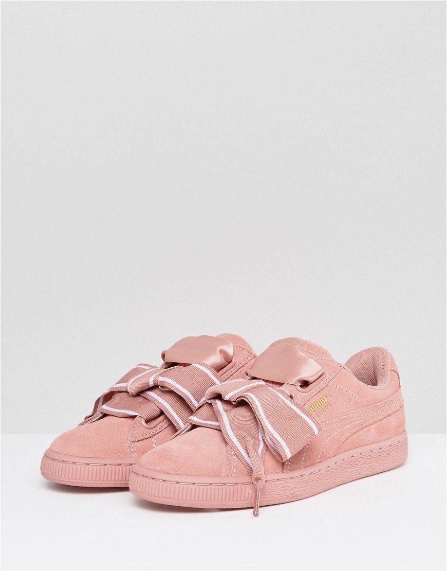 puma suede basket heart sneakers in pink pink