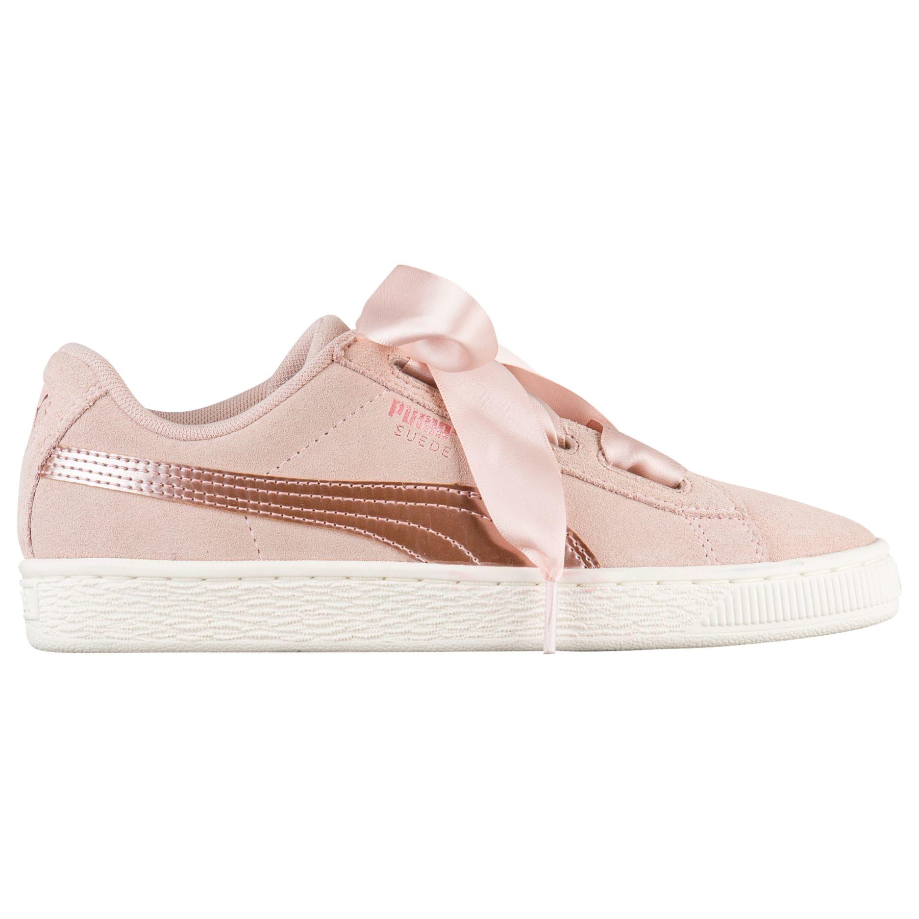 puma suede heart girls grade school basketball shoes rose gold