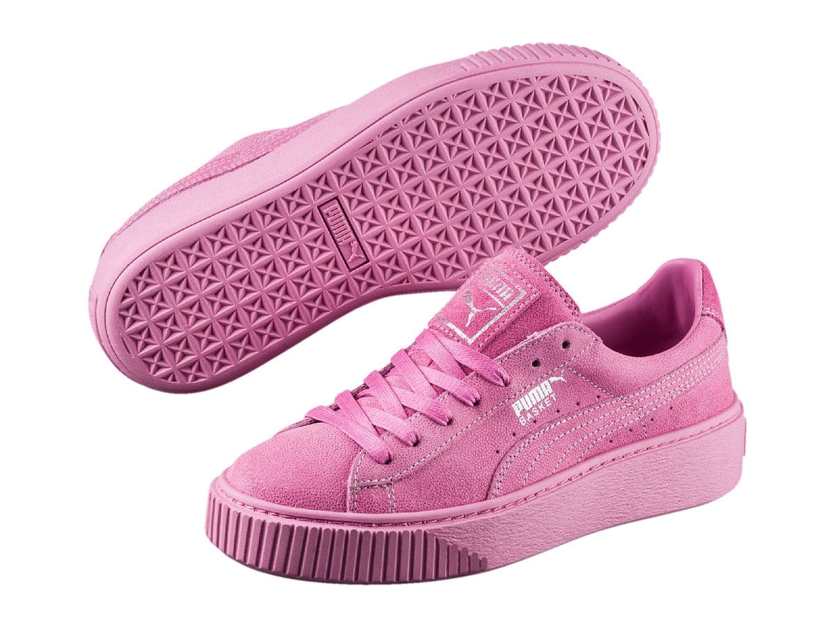 womens shoe puma basket platform reset suede sneaker 363313 02 prism pink