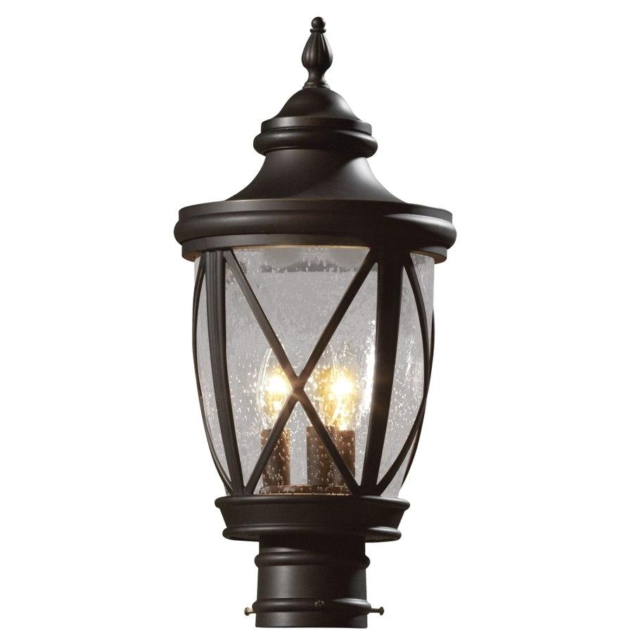 allen roth castine 19 5 in h rubbed bronze post light
