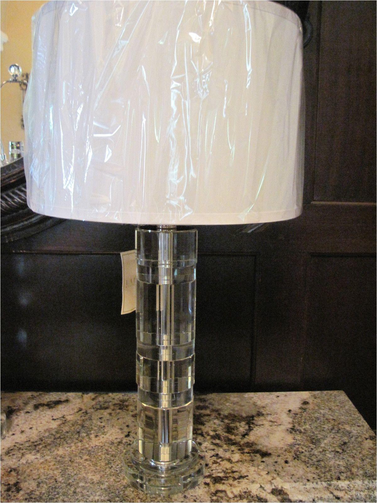 Ralph Lauren Crystal Lamp Farrah Brand New Ralph Lauren Farrah Nickel Table Lamp Crystal Silk Shade