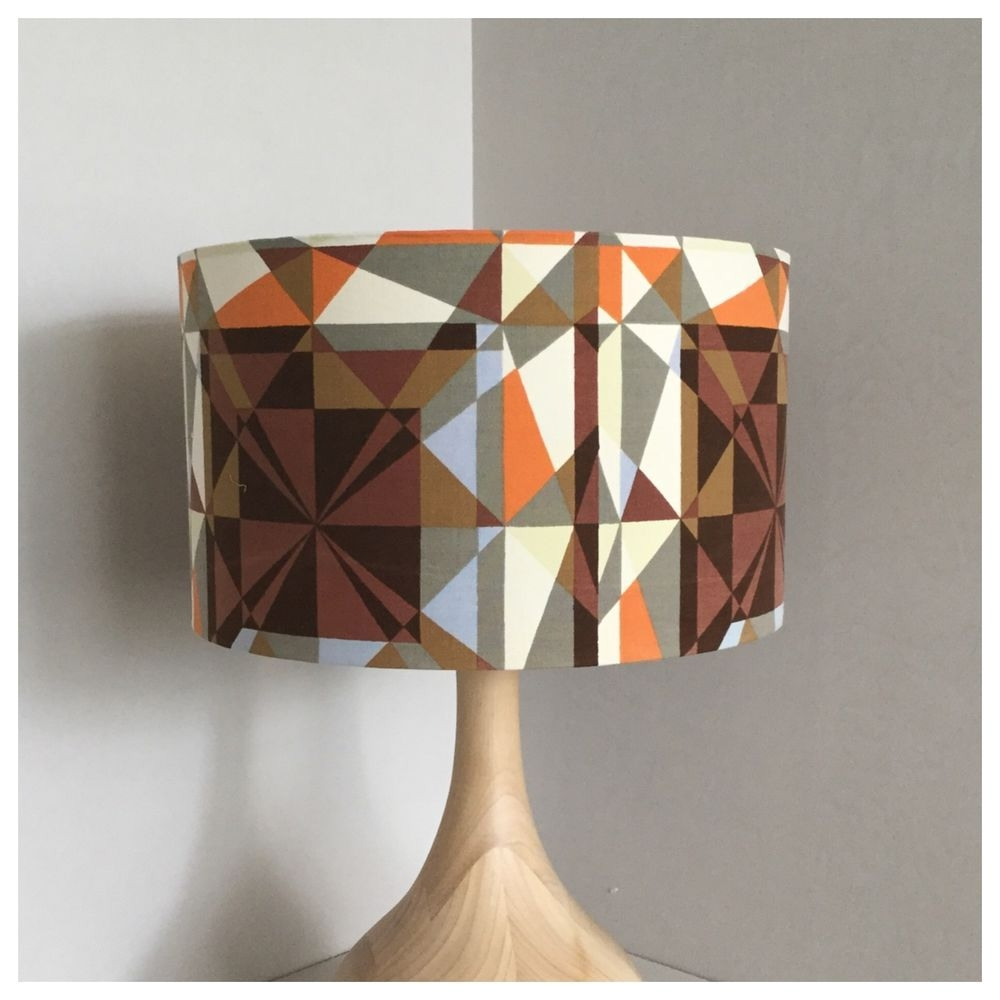 original vintage geometric fabric lamp shade