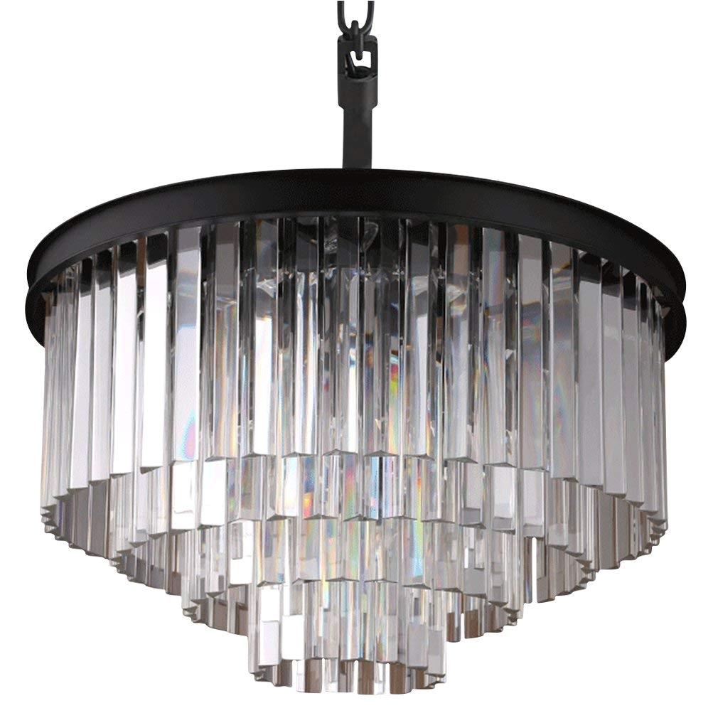 crystal 4 tier chandelier chandeliers lighting chrome finish h17 7 x w23 6 flush mount pendant fixture of ella fashion amazon com
