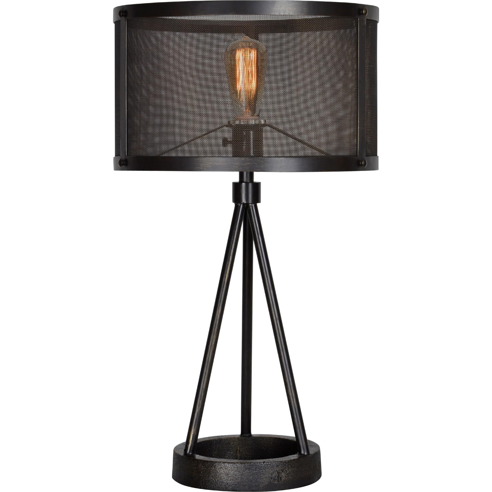 renwil livingstone table lamp in black metal mesh