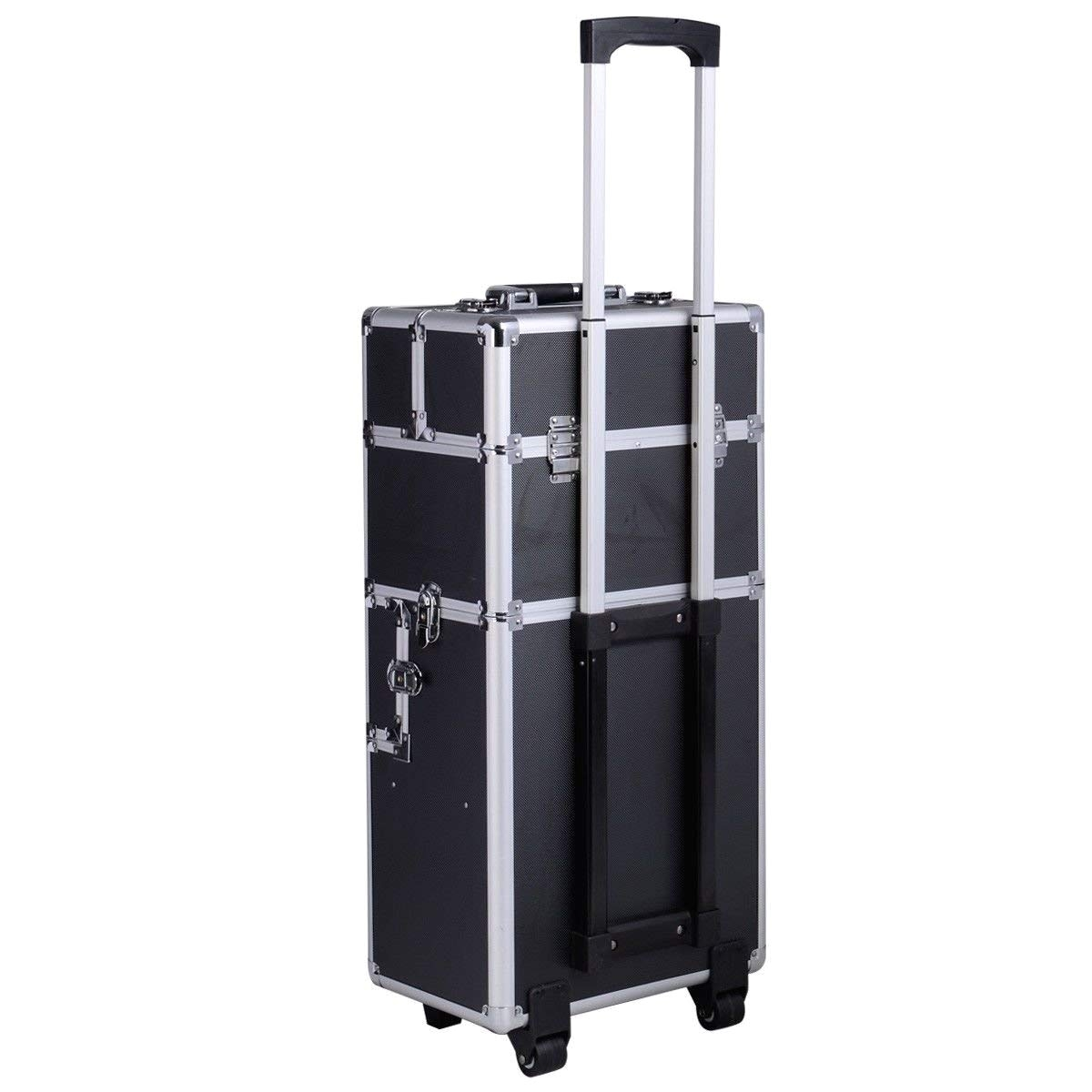 amazon com comie 3 in 1 pro aluminum rolling makeup case salon cosmetic box organizer trolley train case wheeled artist travel beauty