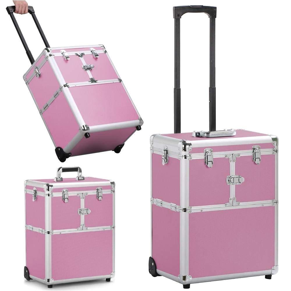 amazon com go2buy artist rolling trolley makeup beauty train case cosmetic organizer pink 15 2 x 10 4 x 44 5 beauty