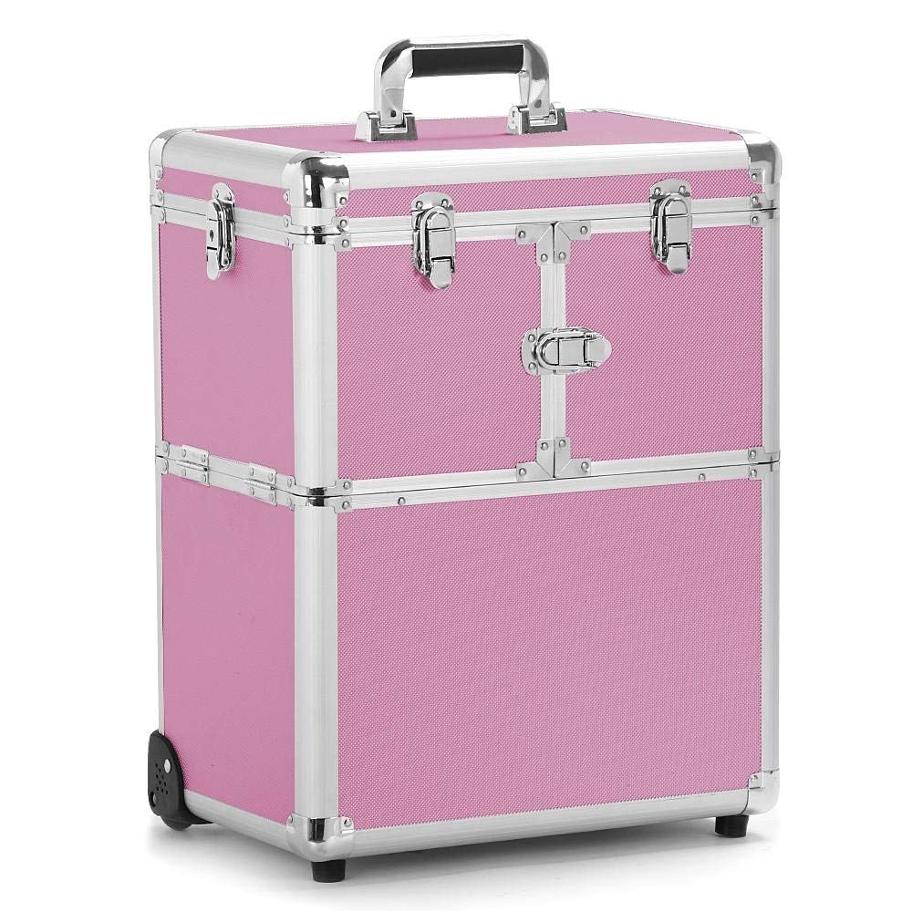 amazon com yaheetech professional artist rolling makeup artist case makeup trolley travel cosmetic case beauty train case cosmetic organizer pink beauty