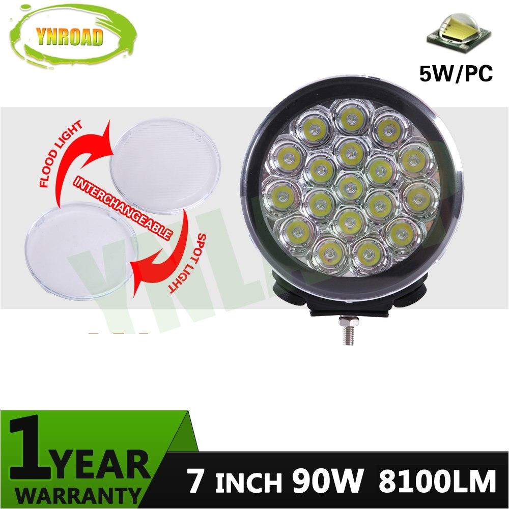 ynroad 90w 7inch black round led driving light led off road light led work light for suvatvutv 4d4x4 use 7200lm in light bar work light from