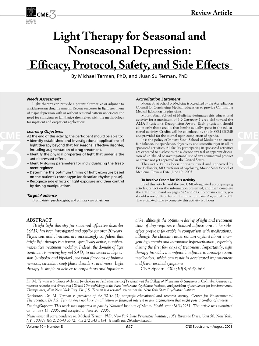 effects of light therapy on suicidal ideation in patients with winter depression request pdf