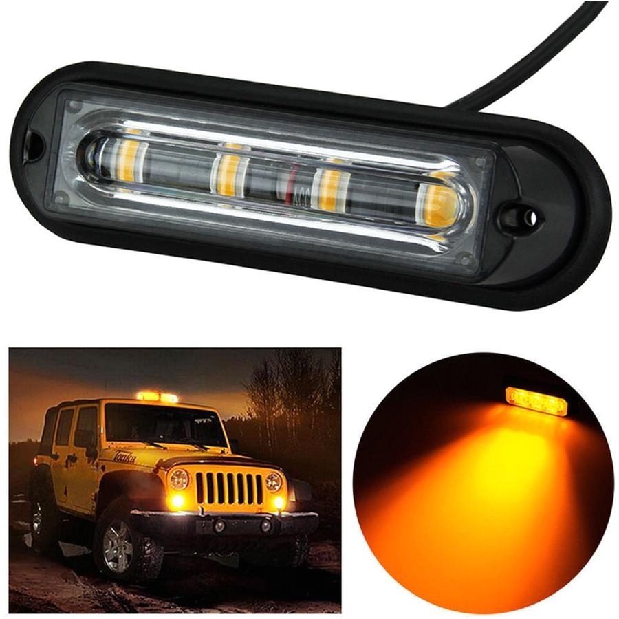 4 led light bar beacon vehicle grill strobe light emergency warning flash amber lightbar beacons lamp emergency waterproof light car strobe light lamp auto