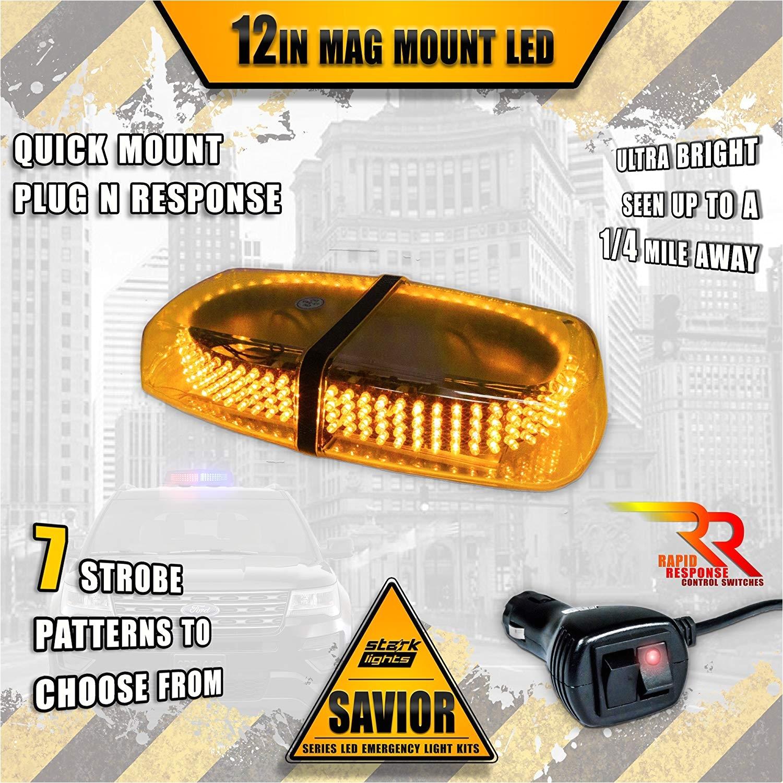 amazon com magnetic 240 led mini light bar roof top emergency warning hazard safety flashing strobe dual rapid switch longer 10ft cable car truck vehicle