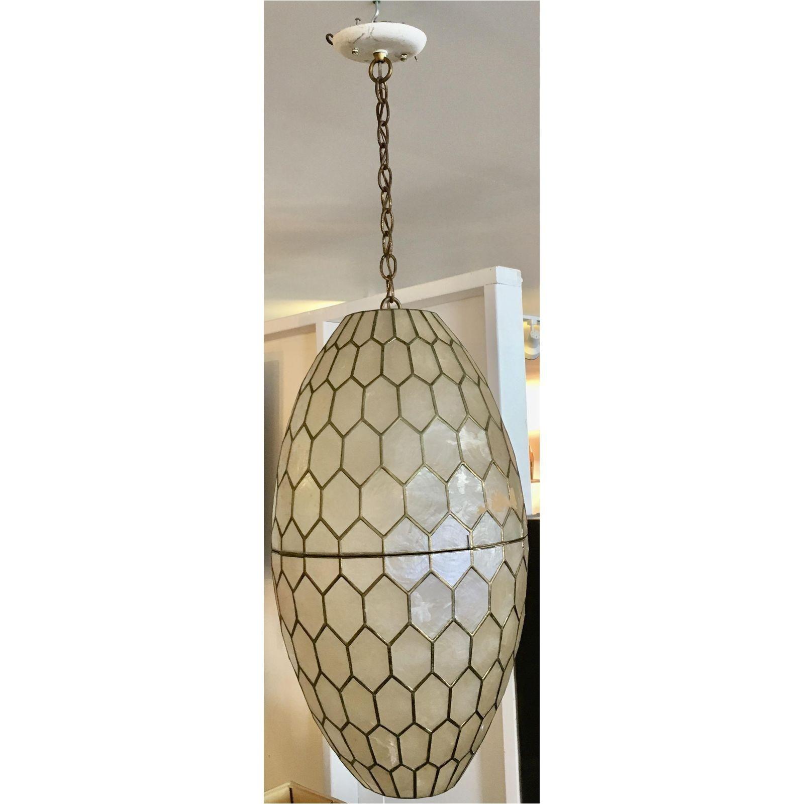 image of mid century capiz shell brass pendant light