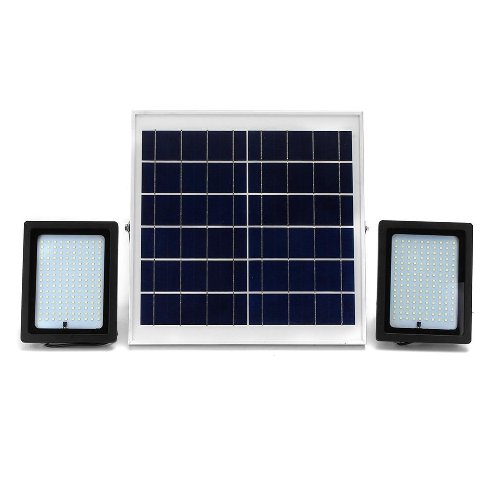 2 pcs 20w waterproof 150 led flood light remote control light sensor solar light
