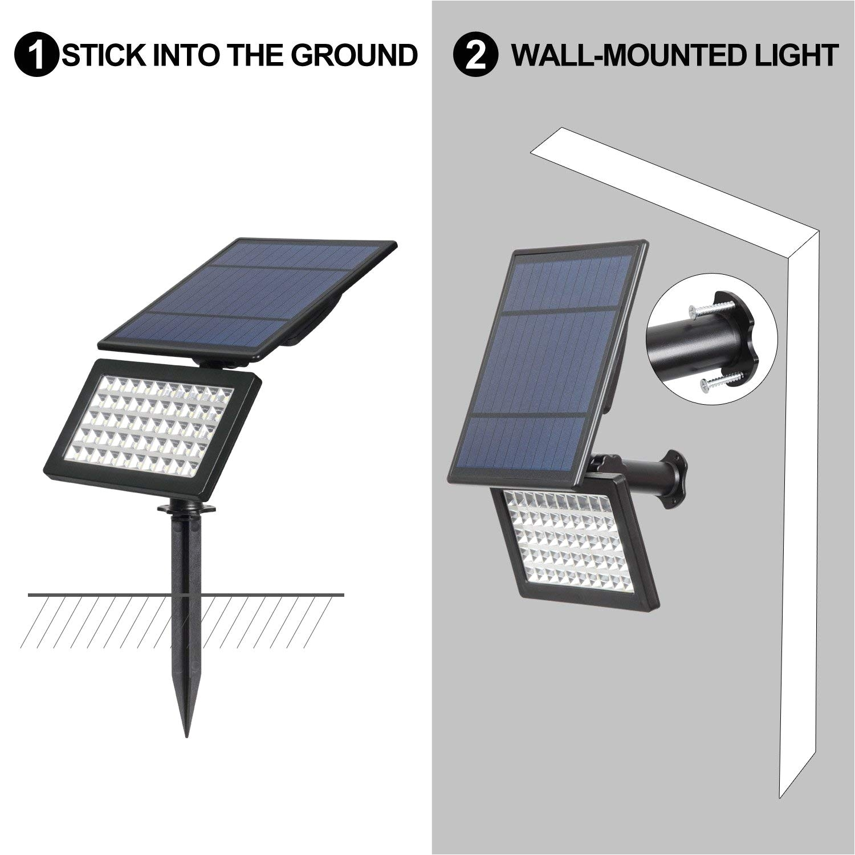 50 led solar spotlights t sunrise 5w solar garden light 2 modes flood lights outdoor adjustable auto on off security lighting for yard garden