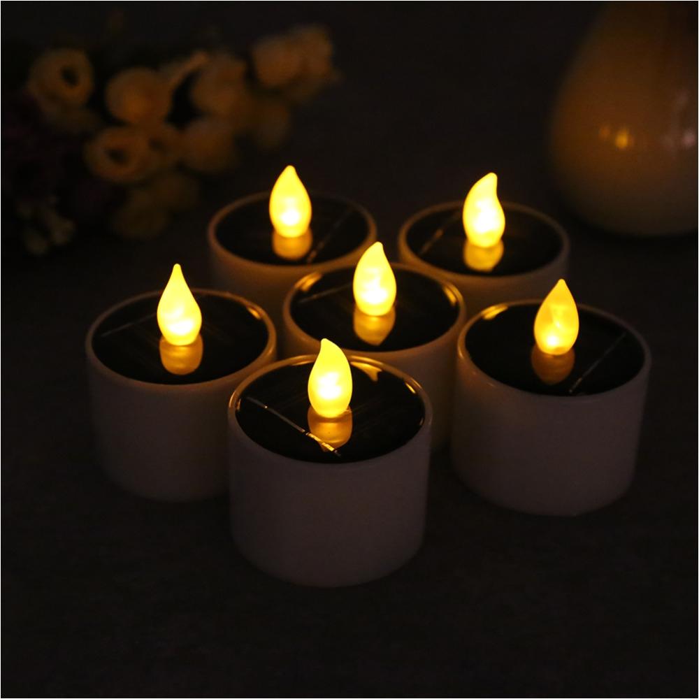 new 6pcs lot solar powered led candle light battery energy saving tea lamp for wedding