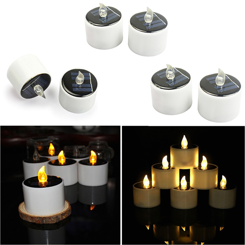 aliexpress com buy 6pcs led candle light solar powered led candles flameless electronic solar led tea lights lamp wedding party romantic light from