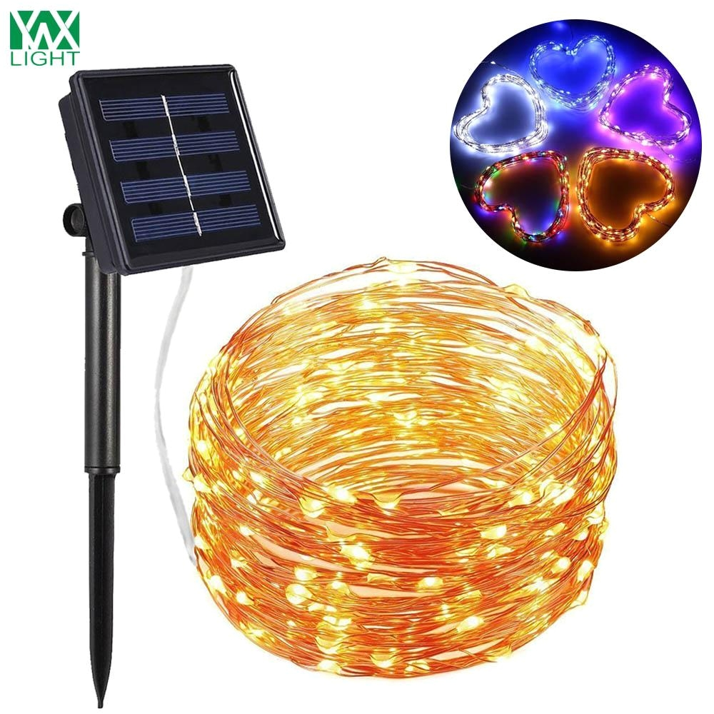 wholesale ywxlight solar power string light waterproof led light 12m 100led copper wire lamp outdoor garland christmas decoration lights battery powered led
