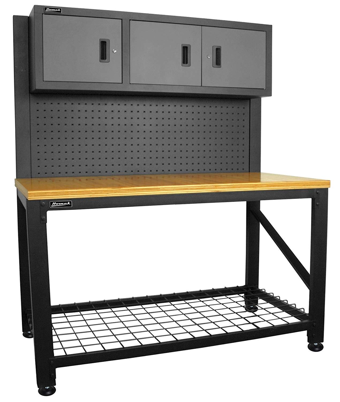 homak 59 inch wood top workbench with 3 door cabinet steel gs00659031 amazon com