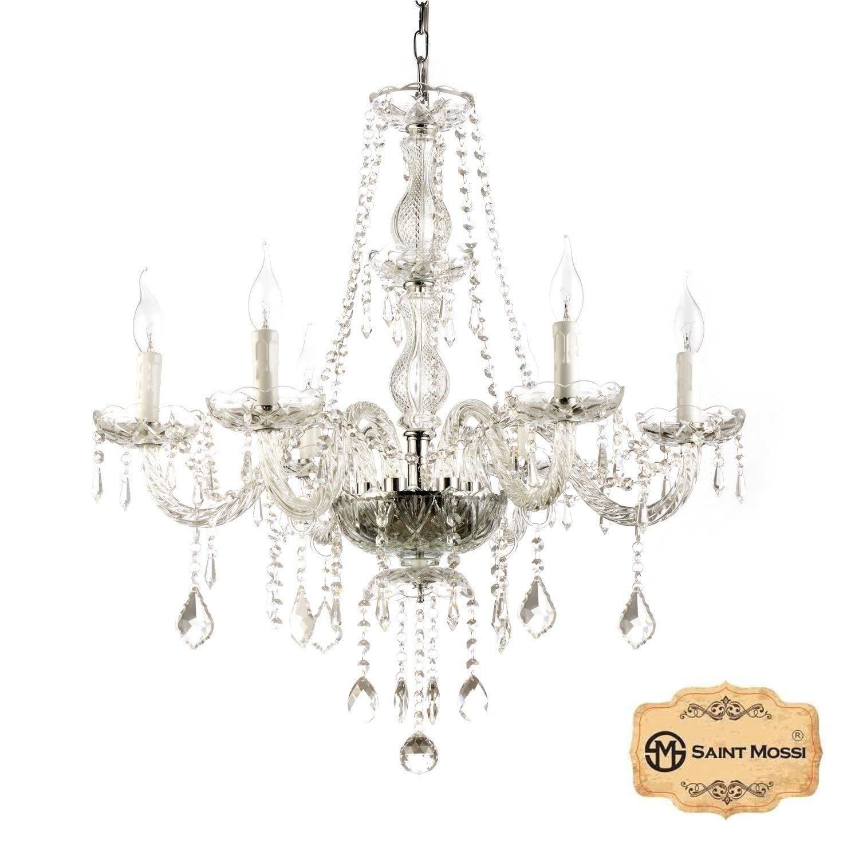 saint mossi chandelier modern k9 crystal raindrop chandelier lighting flush mount led ceiling light fixture pendant lamp for dining room bathroom bedroom