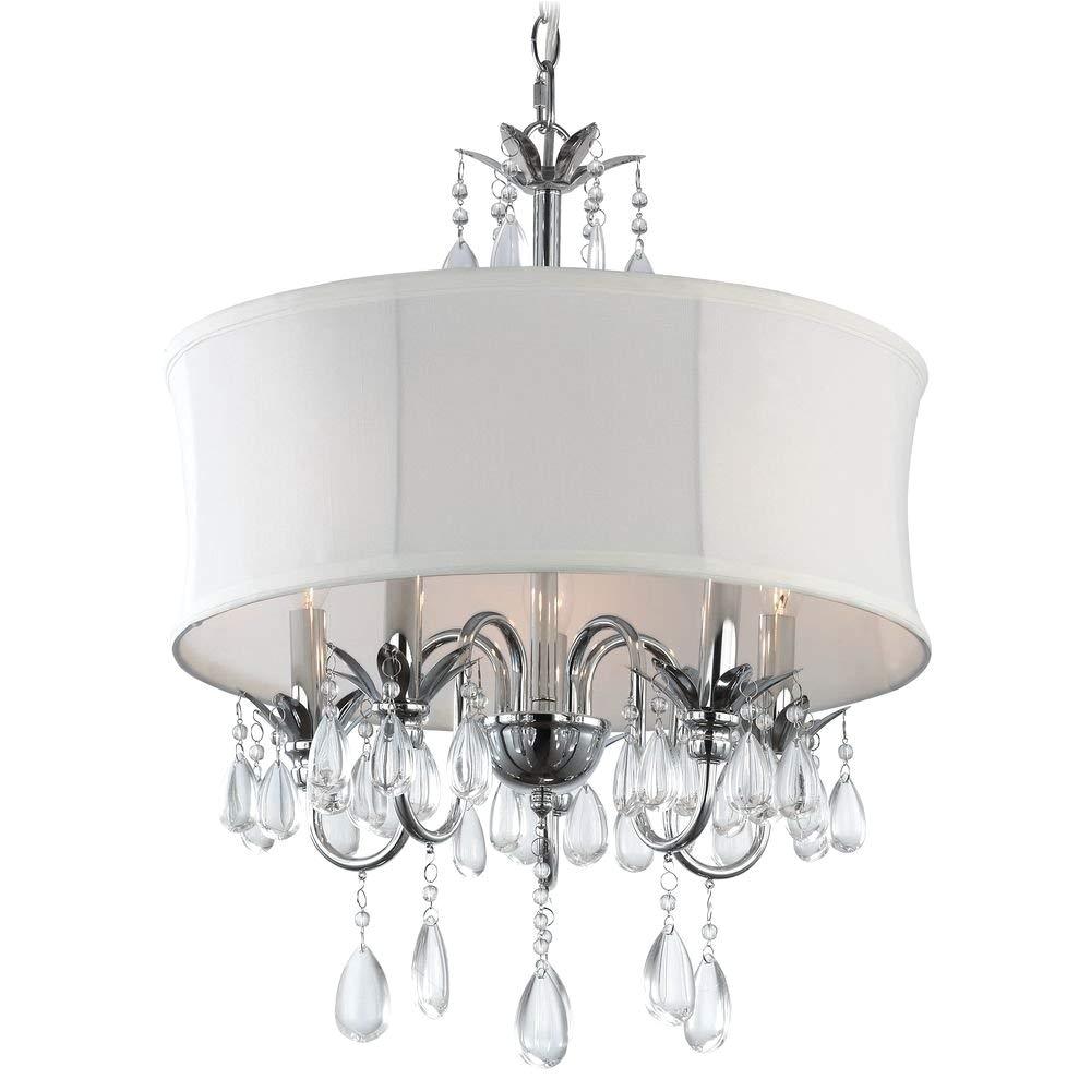 Star Shaped Light Fixture White Drum Shade Crystal Chandelier Pendant Light Ceiling Pendant