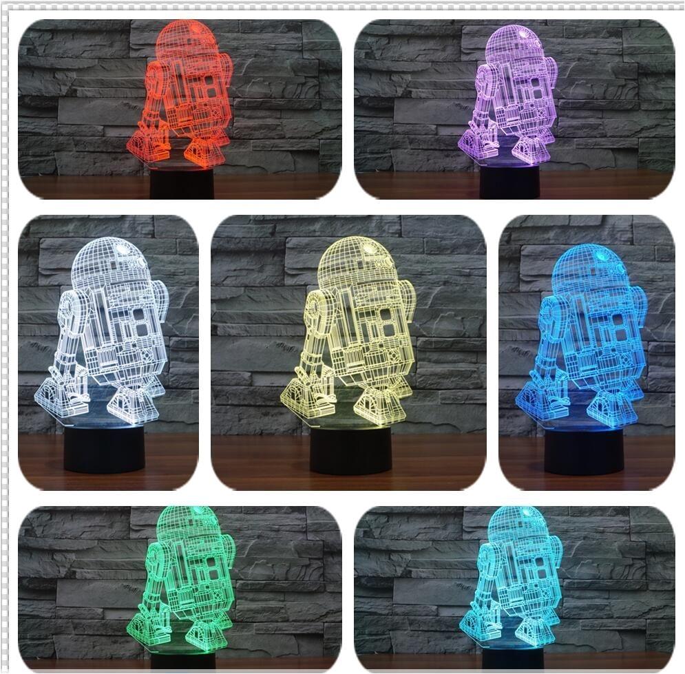 hot sale 3d star wars warship robot kawaii r2 d2 lamp 7 colors changing night