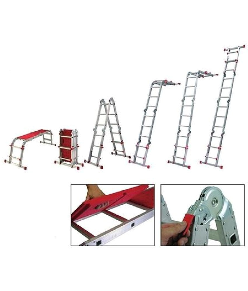 youngman diy aluminium 11 feet folding wall standing step ladder extension ladder work bench