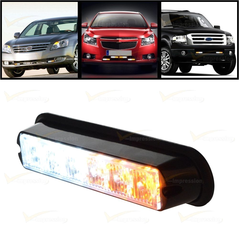 white amber 6 led warning beacon emergency car truck strobe flash light bar vimpression