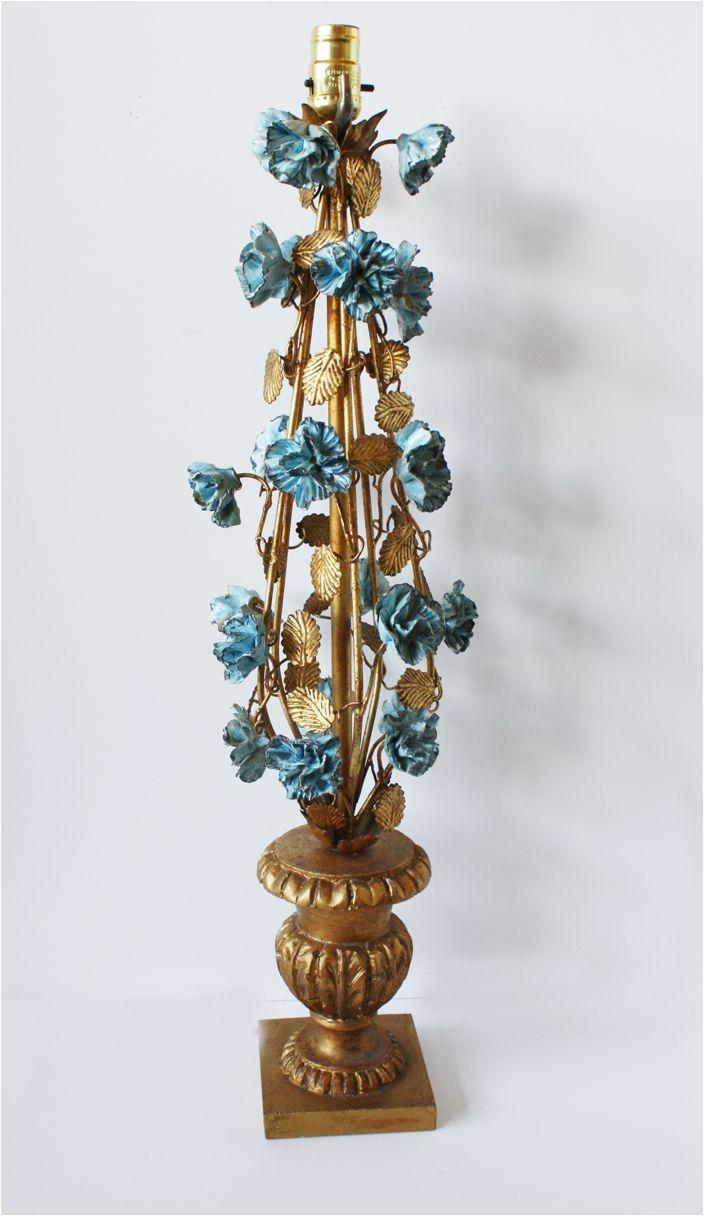italian tole aqua porcelain carnations urn gilt lamp