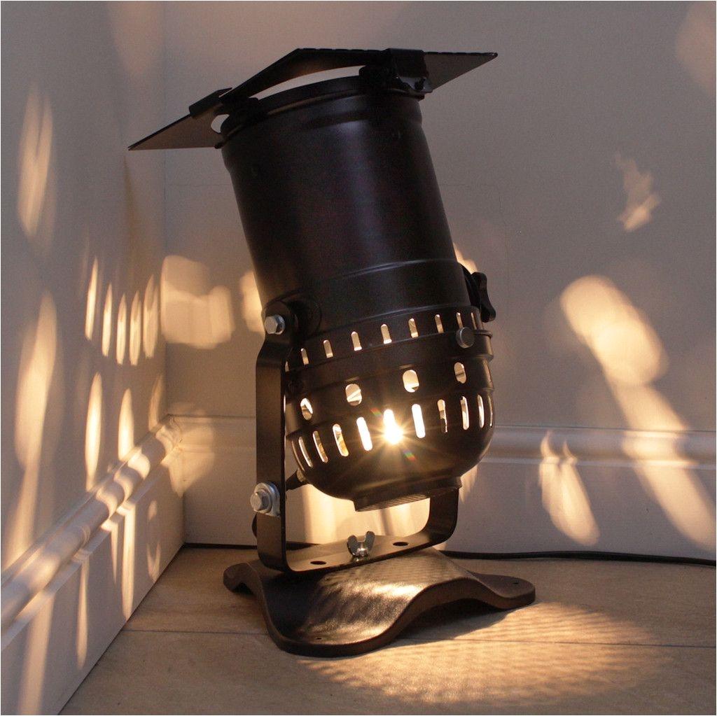 retro theatre lamp on base long spotlight model black