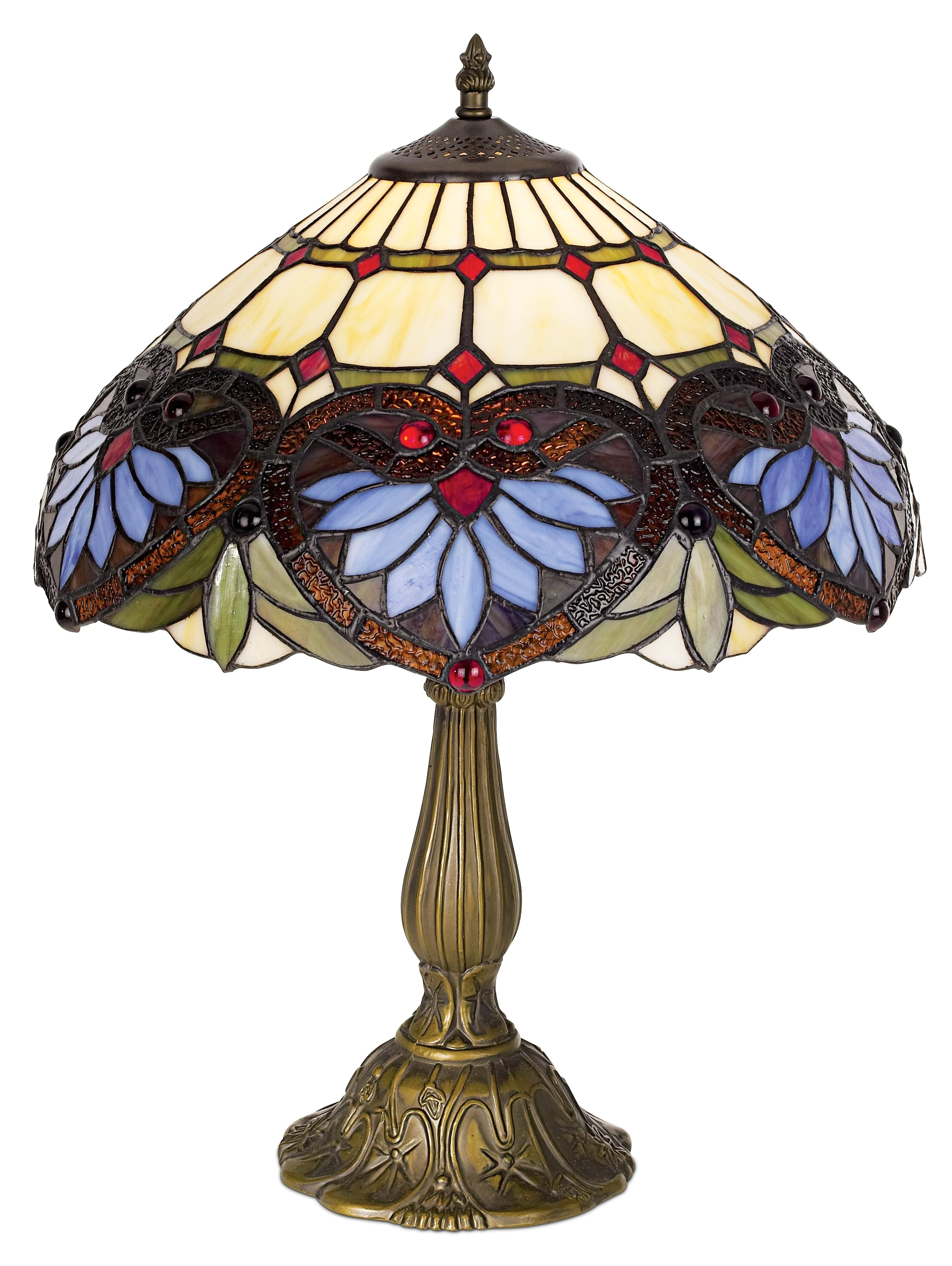 heart motif art glass 22 high table lamp
