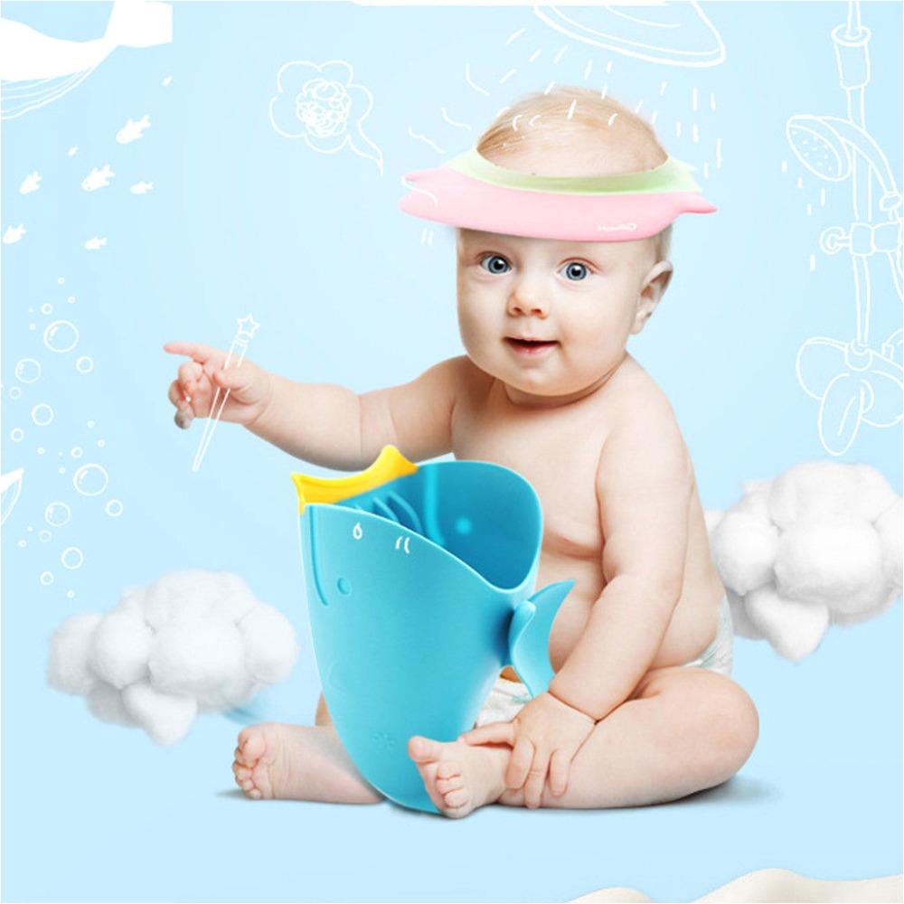2018 new arrival baby bath cap kids washing shampoo cartoon hair whale cup children shower spoons