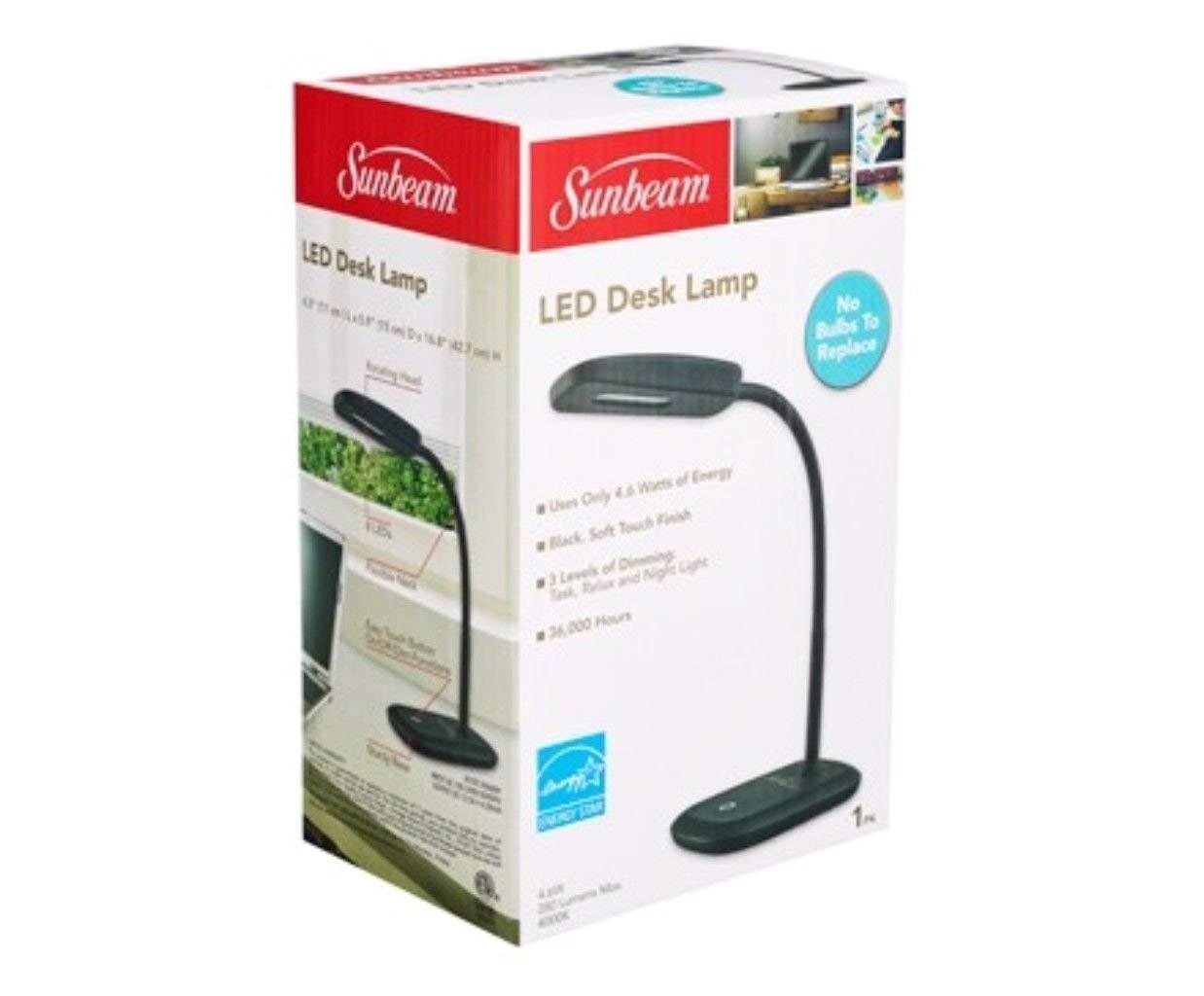 amazon com new sunbeam flexible neck led desk lamp adjustable light energy star black sports outdoors