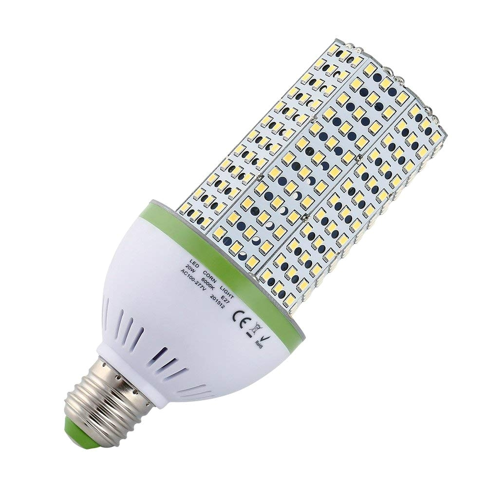 qedertek 20w e27 led corn light bulb 6000k led light 360 degree street area light metal halide bulb hid cfl hps amazon com