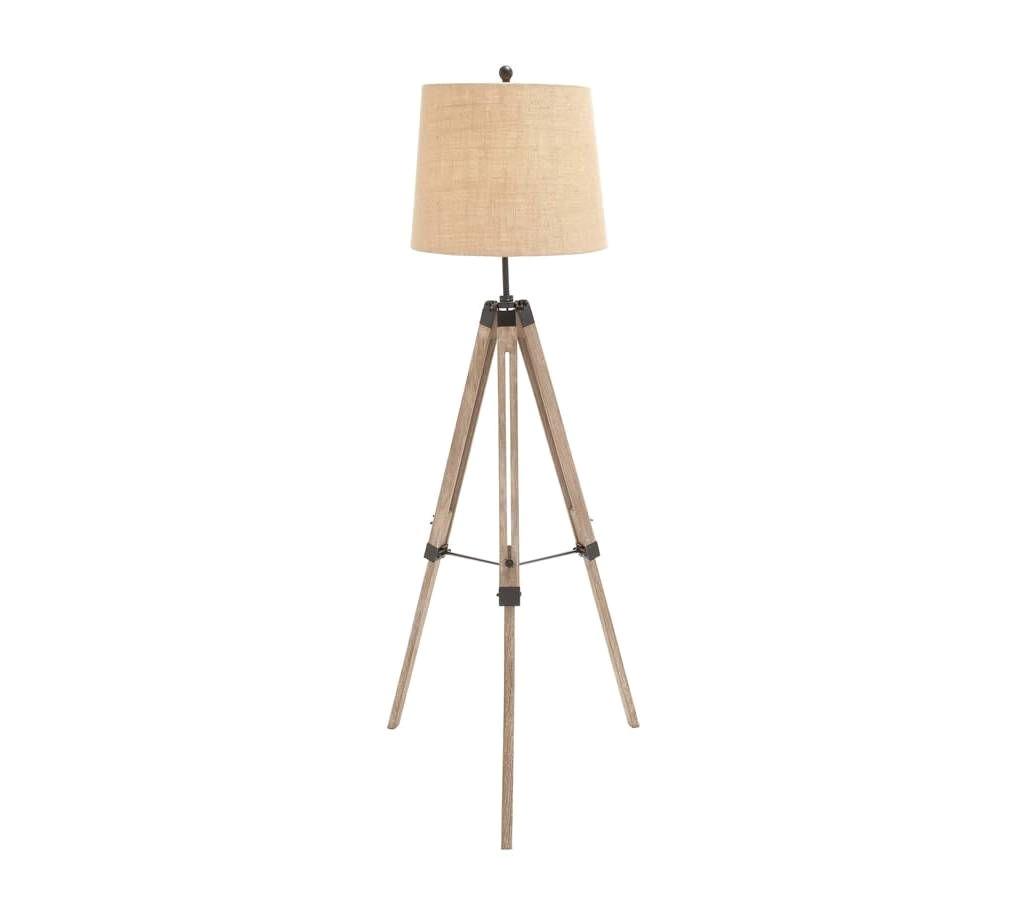 TriPod Spotlight Lamp Light Brown Wooden TriPod Floor Lamp with Cream Shade Vintage