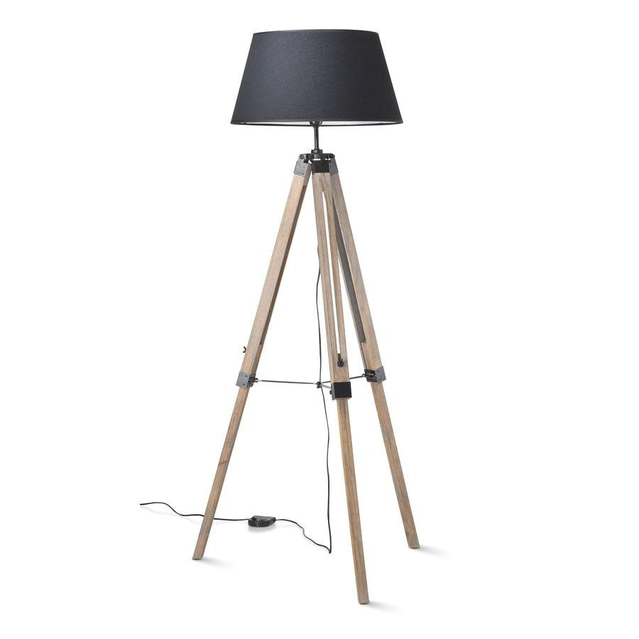 tripod floor lamp 144cm black shade weathered legs black mango