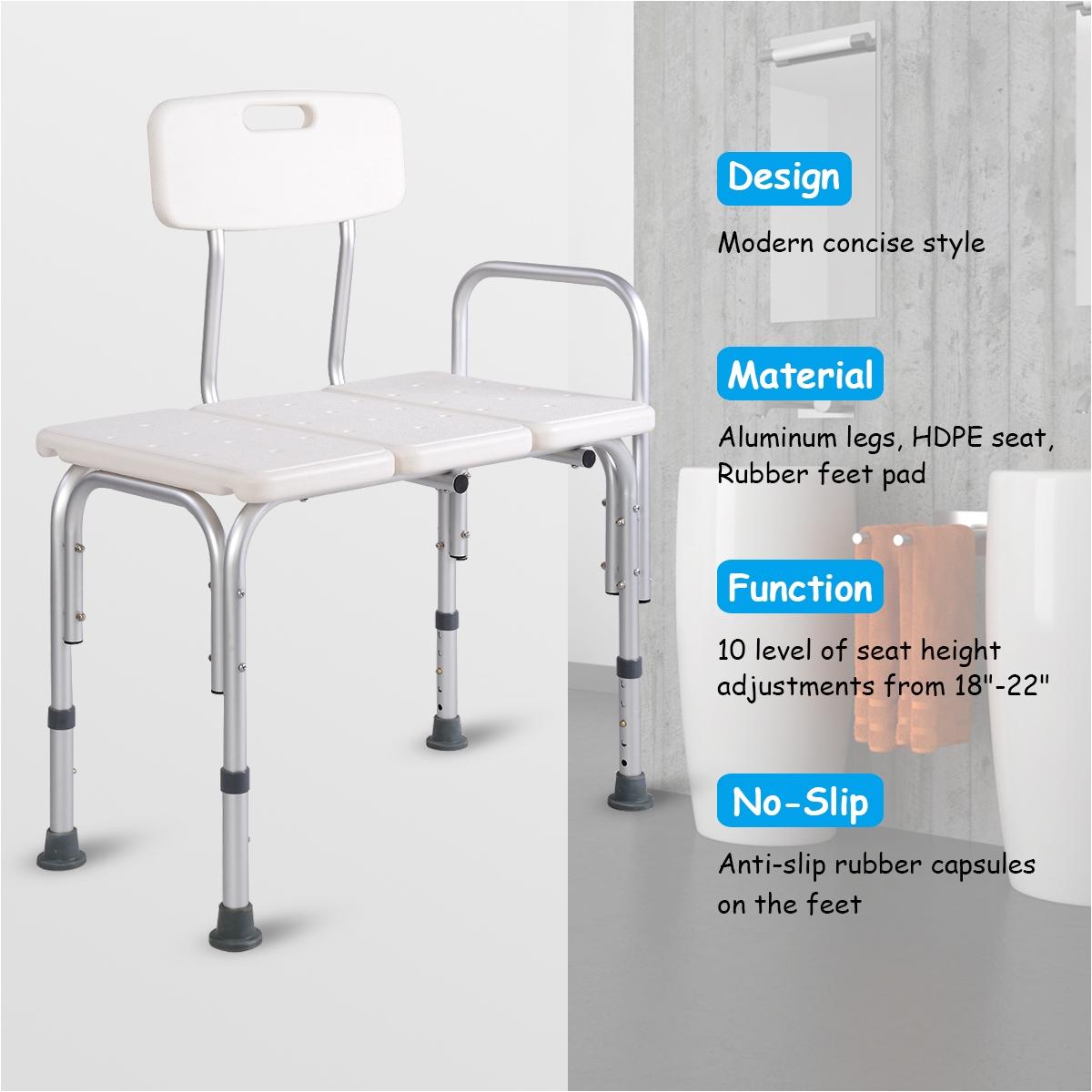 goplus shower bath seat medical adjustable bathroom bath tub transfer bench stool chair walmart com