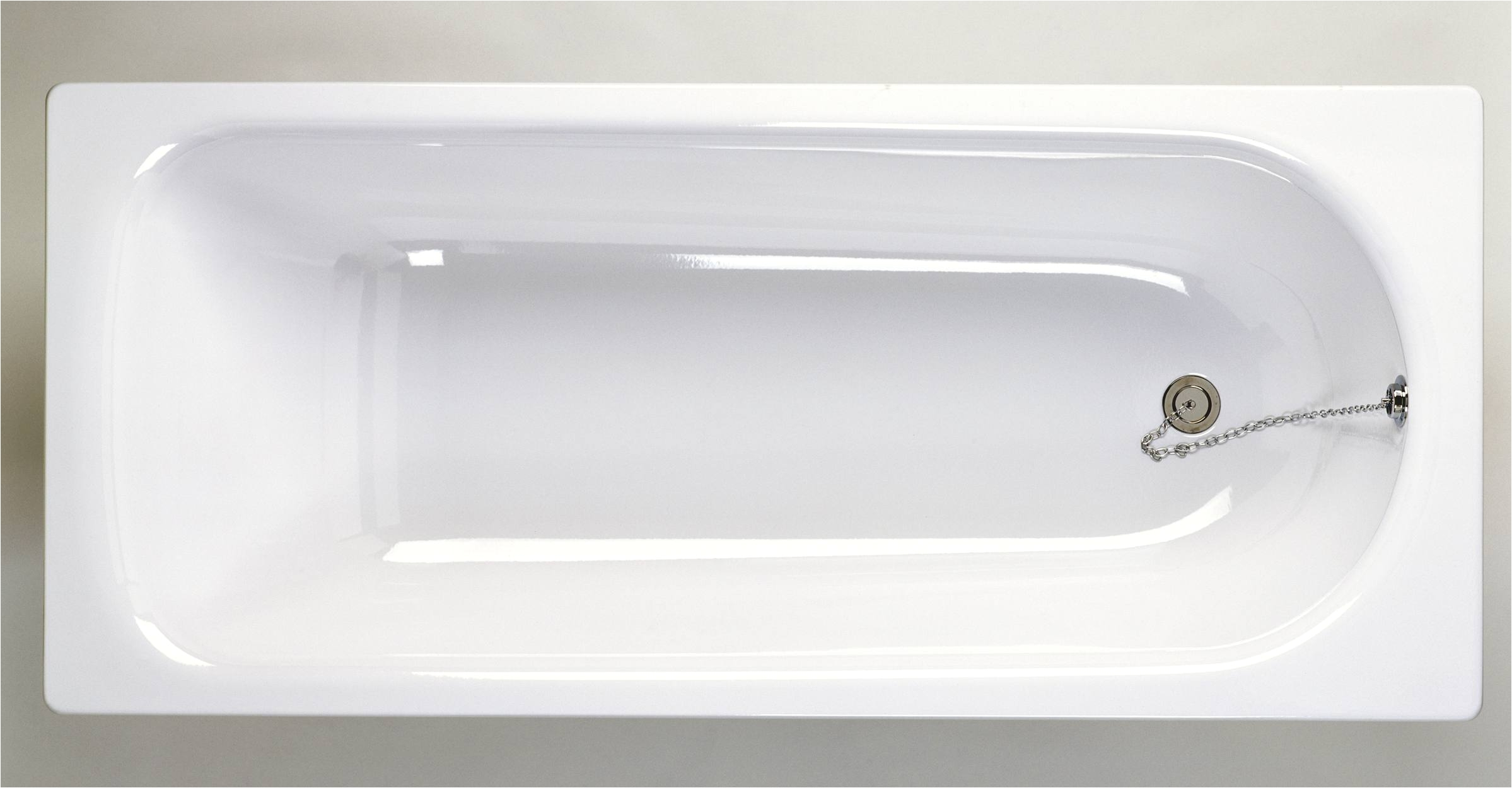 white enamelled steel bath overhead view