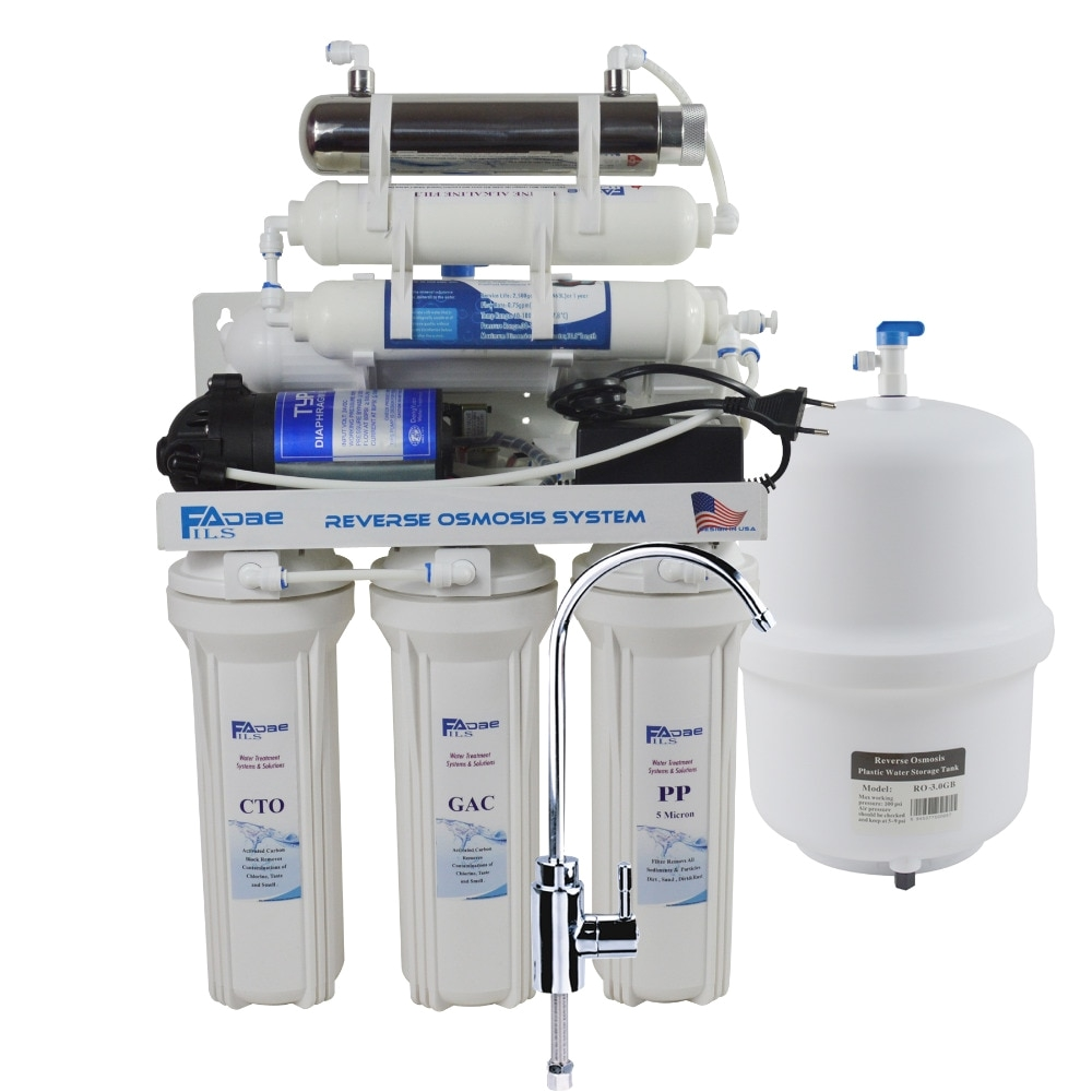 7 stage undersink reverse osmosis drinking water filtration system with alkaline remineralization filter and uv 50gpd 220 240v in water filters from home