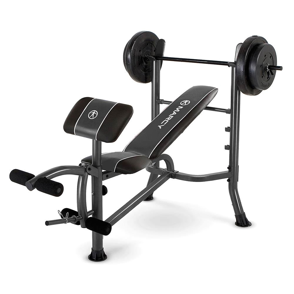 marcy standard bench w 80lb weight set quality strength