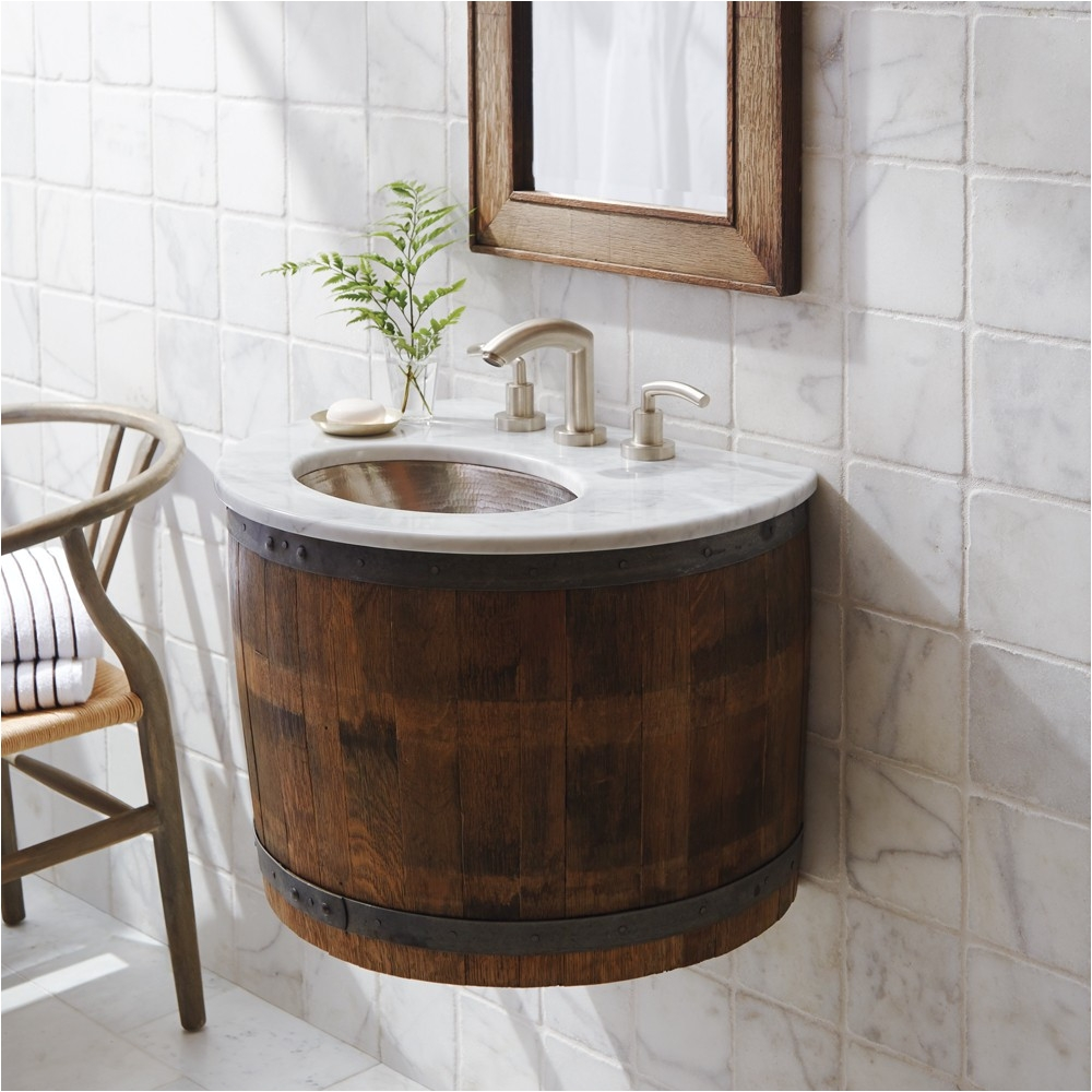 bordeaux wine barrel wall mounted bathroom vanity base