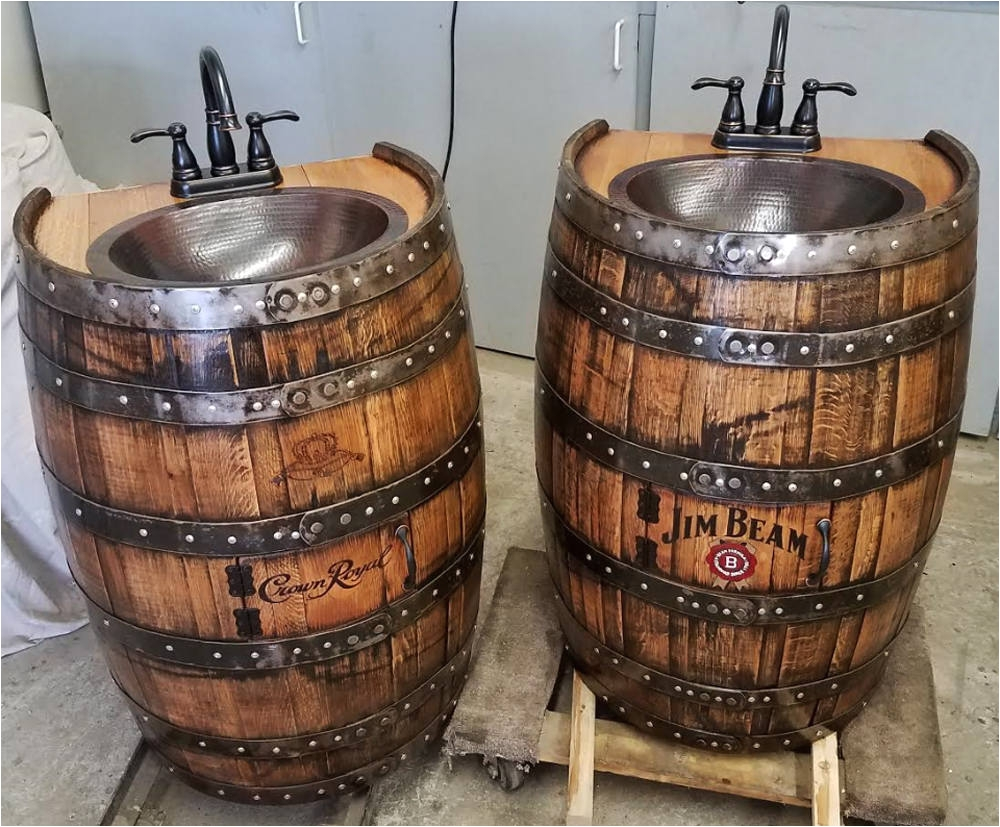 whiskey barrel sink 1 2 flat back hammered copper rustic antique bathroom bar man cave wine oak barrel vanity bourbon personalized